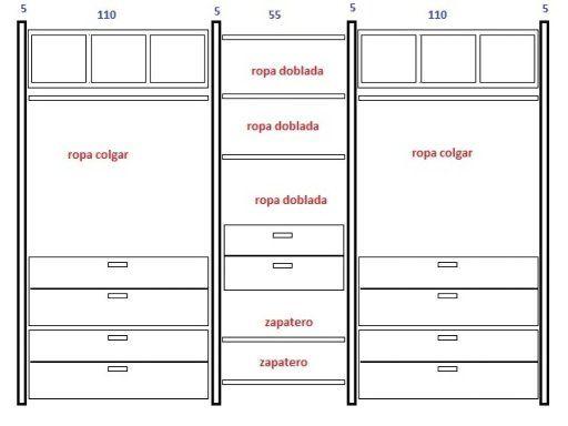 Medidas para cajones en closets buscar con google - Distribucion de armarios roperos ...