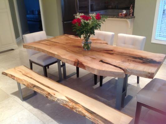 Legs. Tree Green Team Live Edge Harvest Table Wood Slab Furniture