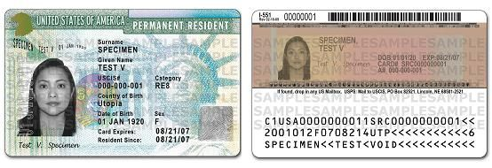 Sample permanent resident card. Also known as green card or resident alien card