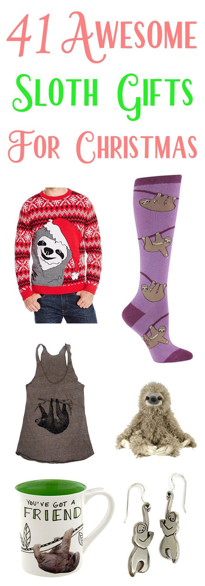 Christmas is nearly here and it's time to start buying all those gifts for your family and friends. Lucky for you, we've compiled a list of 41 sloth gifts that your friends and family will love. Which one will be your favorite? Hint: it's number 4.