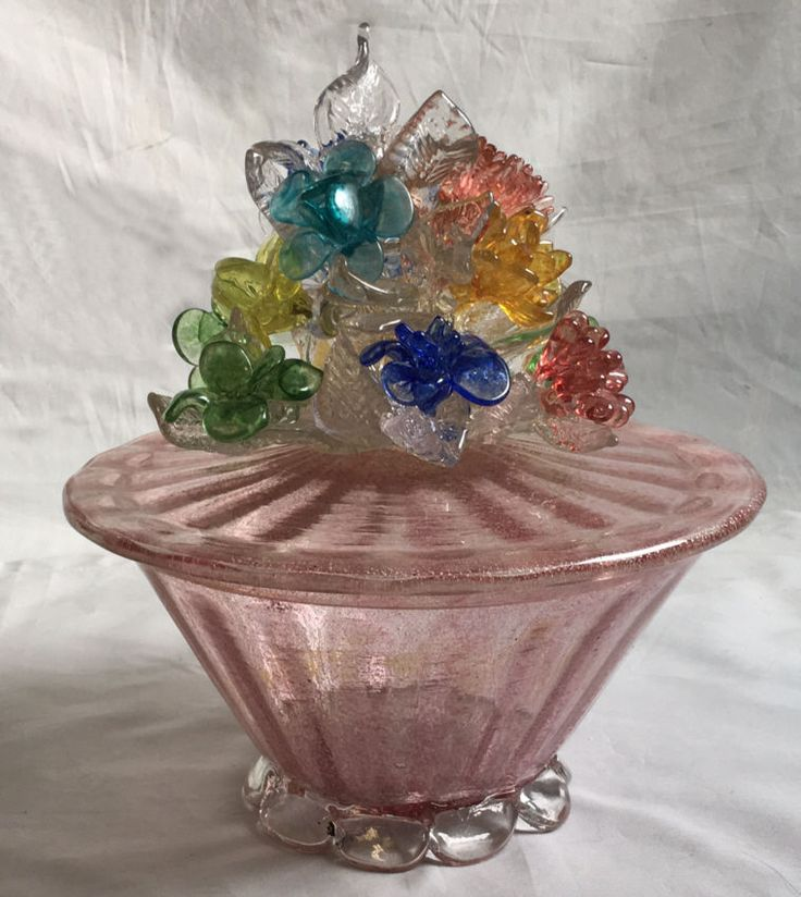 Vintage Murano glass covered floral compote  attributed Barovier Studio c1945