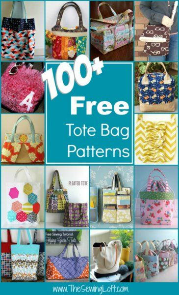 100++Free+Tote+Bag+Patterns+Rounded+Up+in+one+place.+The+Sewing+Loft+
