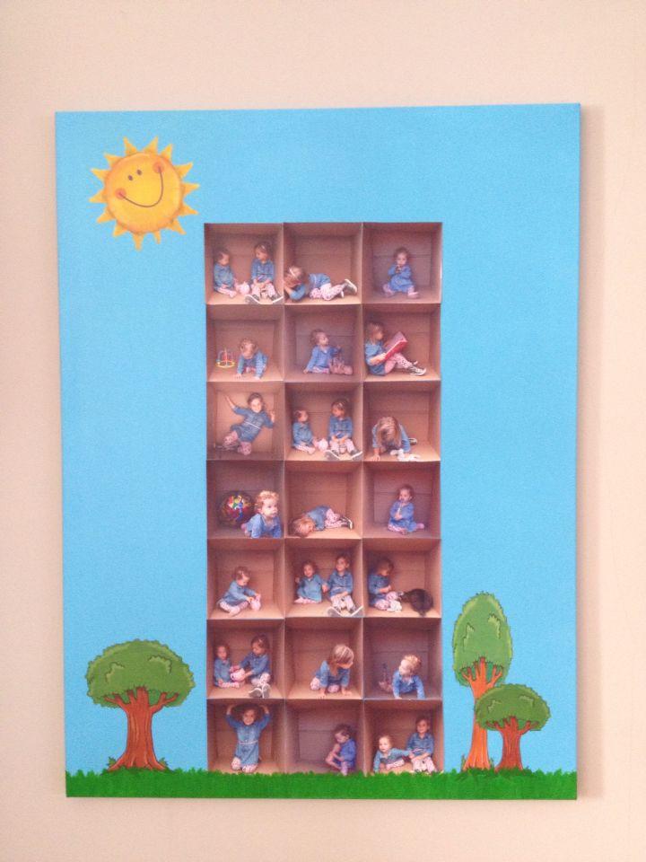 Maak foto's van je kinderen in verschillende posities in een doos en maak hier vervolgens een flatgebouw van op doek.