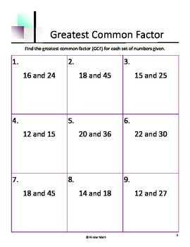 greatest common factor gcf greatest common factors and factors. Black Bedroom Furniture Sets. Home Design Ideas