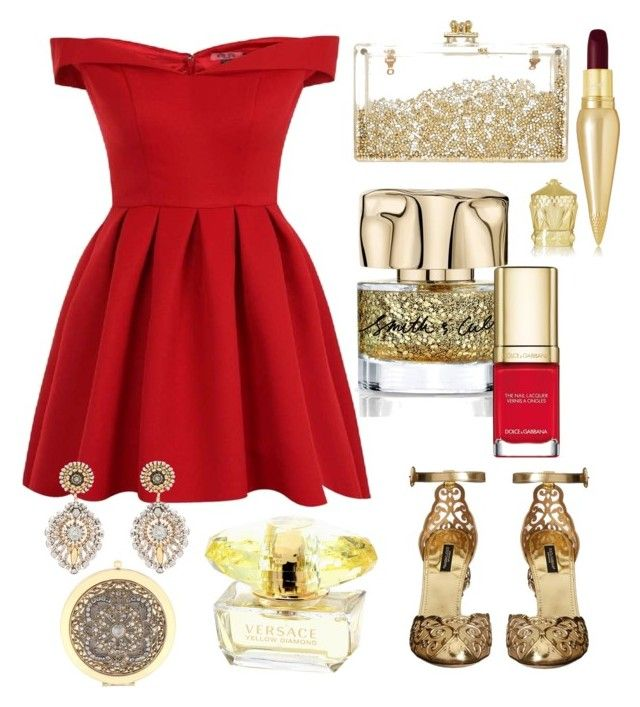 """""""Noël 🎄 chic and red"""" by soso-bcbg on Polyvore featuring mode, Chi Chi, Dolce&Gabbana, Miguel Ases, Christian Louboutin et Liz Claiborne"""