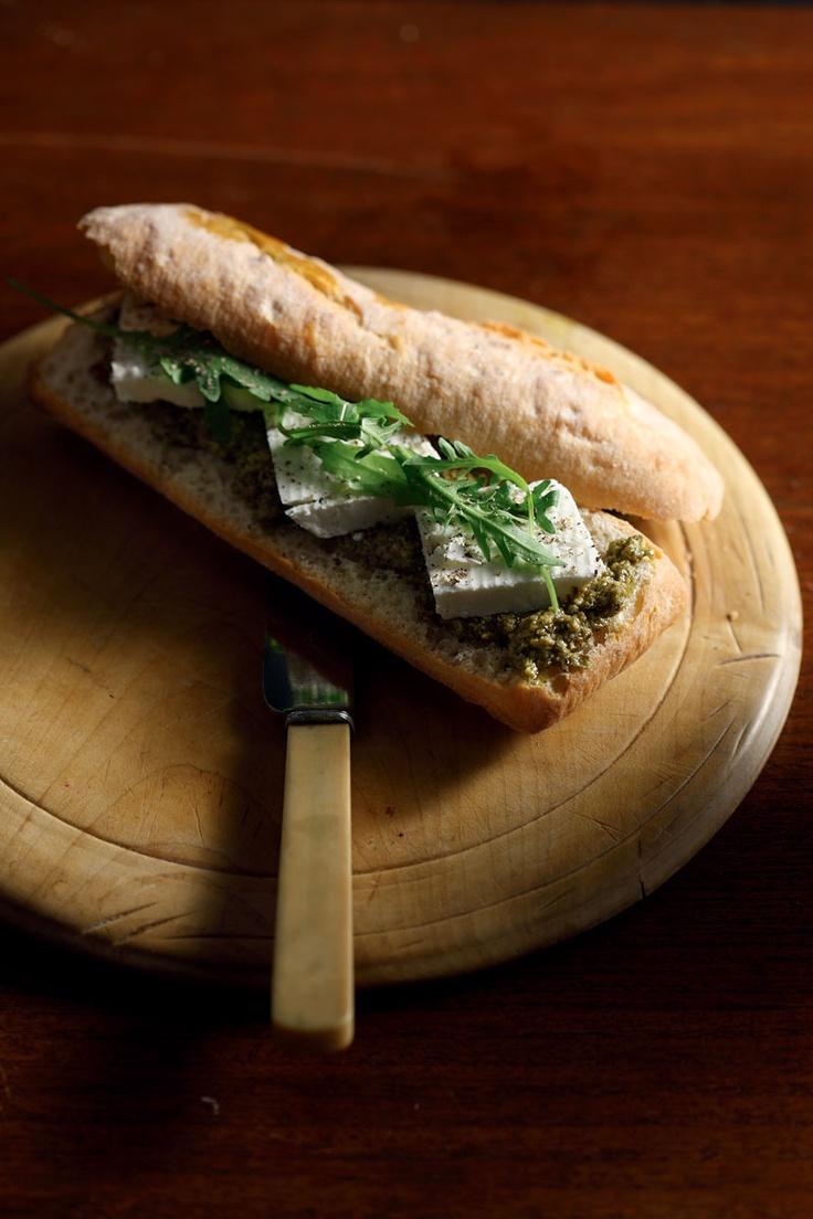 Sandwich with Greek Manouri cheese and rocket pesto