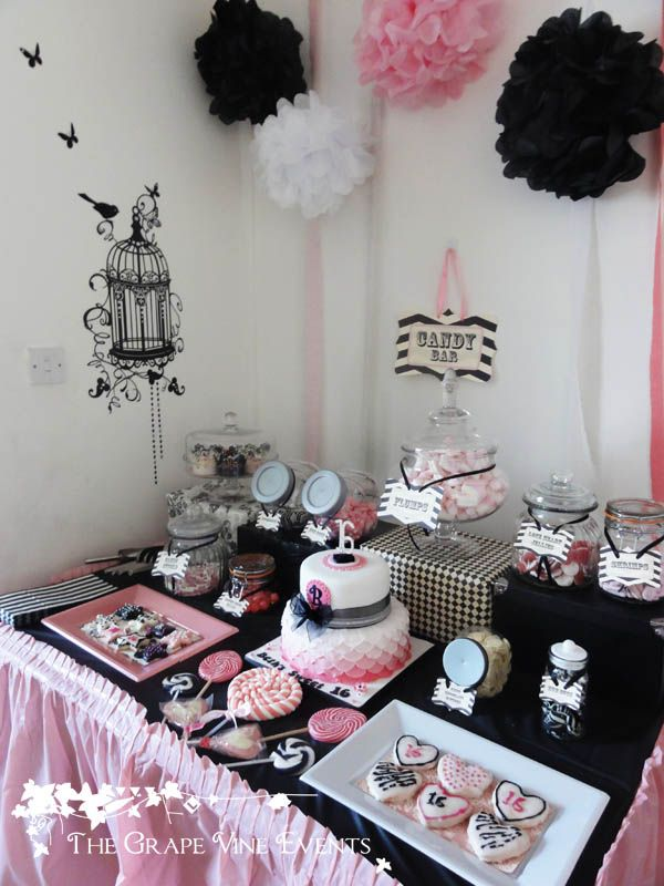 The Grape Vine Events black, white and pink buffet table for a sweet 16th birthday party. All cookies, cake and sweets matched the colour theme.