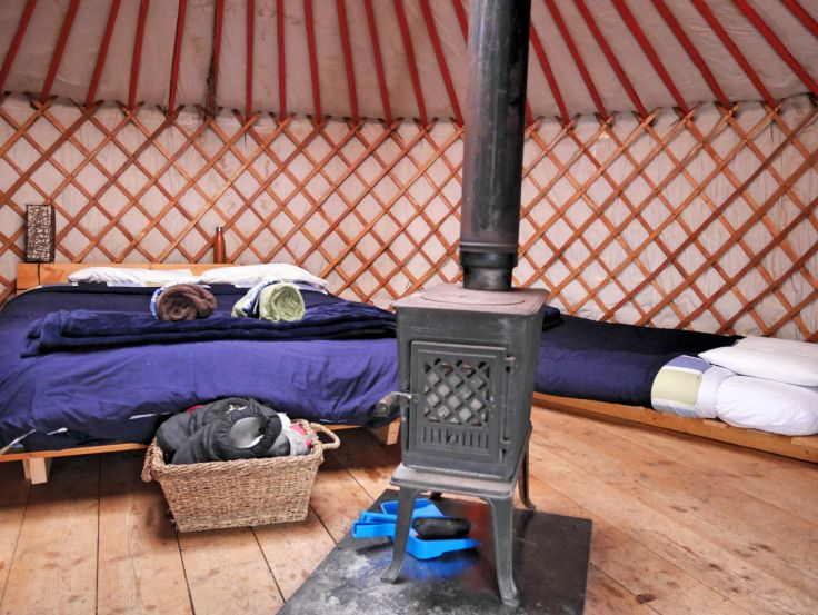 Inside de yurt at Traveling Light | Cowley Lakes, Yukon, Canada