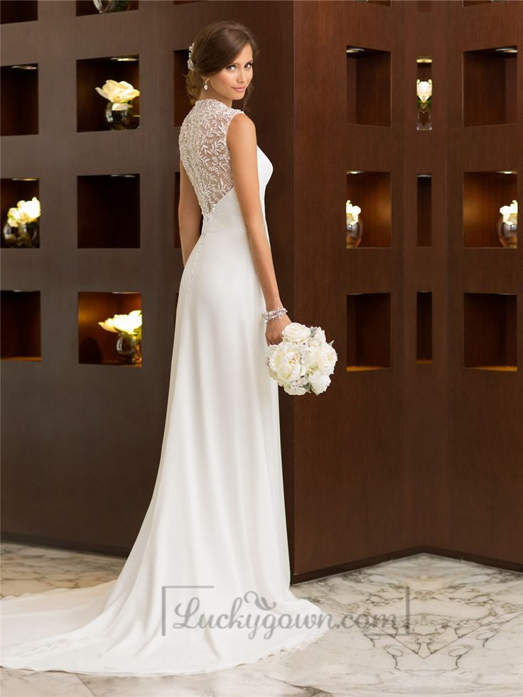 Elegant Cap Sleeves Chiffon Sheath Simple Wedding Dresses with Illusion Back