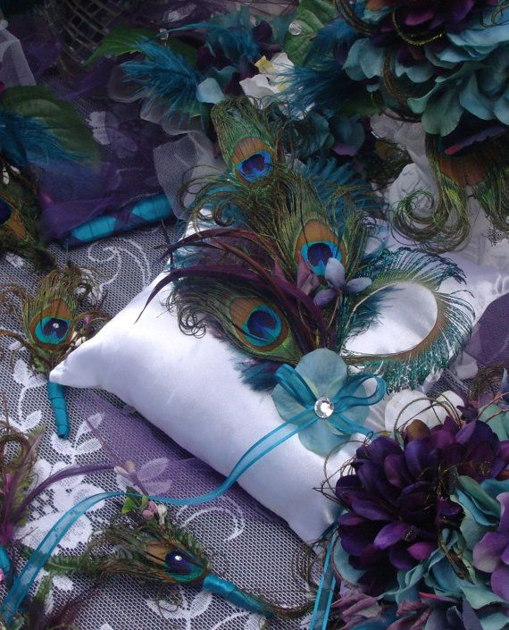 Items Similar To RUSH   Peacock Wedding Ring Bearer Pillow DECORATION In  Your Choice Of Accent Colors For Tonya   On Etsy