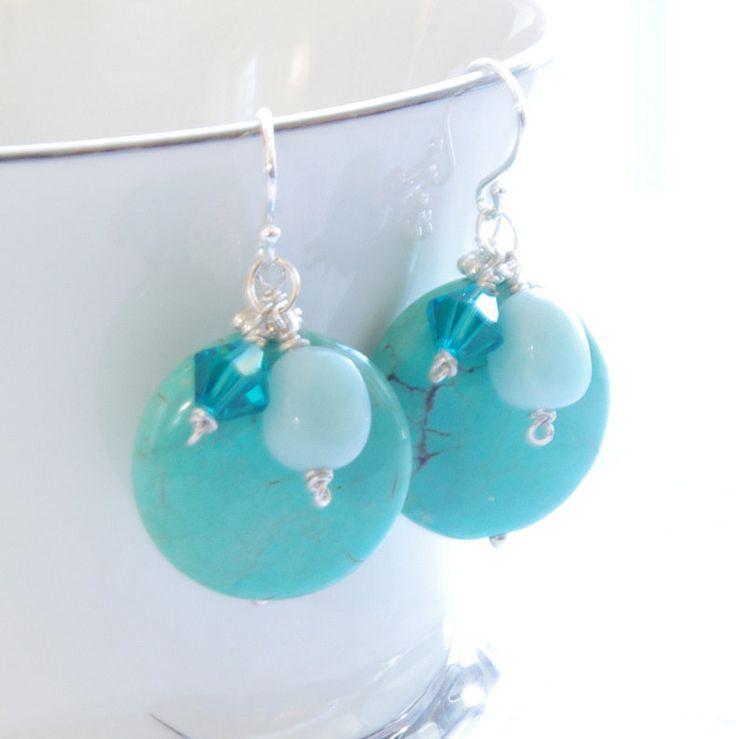 Turquoise Earrings Beaded Blue Amazonite Aqua Magnesite Stone Dangle Swarovski Crystal Sterling Silver Summer Handmade Jewelry - PASSPORT. $54.00, via Etsy.