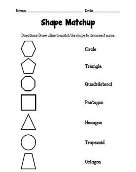 This activity sheet is very useful for quickly assessing students' knowledge of 2-D shapes which include the circle, triangle, quadrilateral, trapezoid, pentagon, hexagon, and octagon. Students will match each shape to its correct name. Identifying shapes can sometimes prove to be difficult for learners, so any extra practice always helps.
