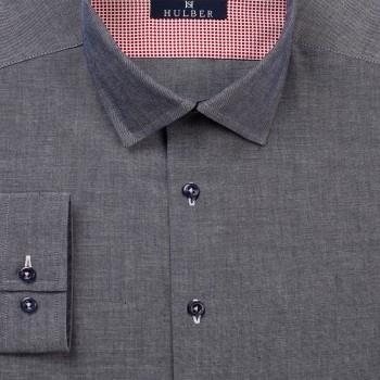 O camasa casual soft gri - bleumarin, speciala datorita contrastelor puternice obtinute din design si versatila datorita ocaziilor diverse in care poate fi imbracata.
