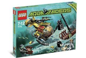 Lego Aqua Raiders Set #7776 The Shipwreck by LEGO. $149.99. Deep below the waves, the Aqua Raiders have discovered a long-lost shipwreck with an ancient king's fortune in gold and jewels. Help the deep-sea divers use their high-tech sub's robotic arms and working magnetic collector to pick up the sunken treasure, but watch out for the poisonous sea snakes and the ship's falling mast!. Includes 2 diver minifigures and 1 skeleton!  Open the hatch to seat a diver at the control...
