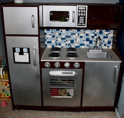 Diy Boys Play Kitchen Wonderful Tutorial On Making A Stainless With Granite Counter And Tiled Back Splash