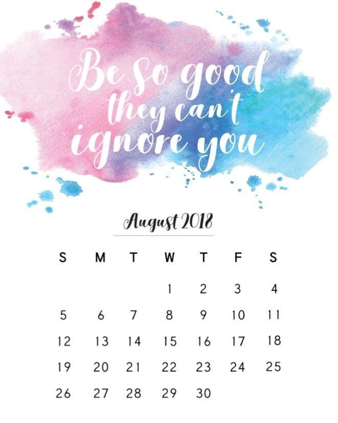August 2018 Monthly Calendar Calendar