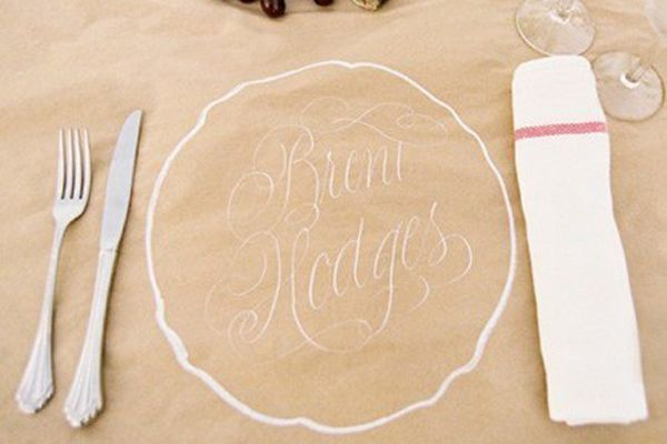 Butcher paper again. these napkins (tea towels) are from ikea and cost less than rentals.