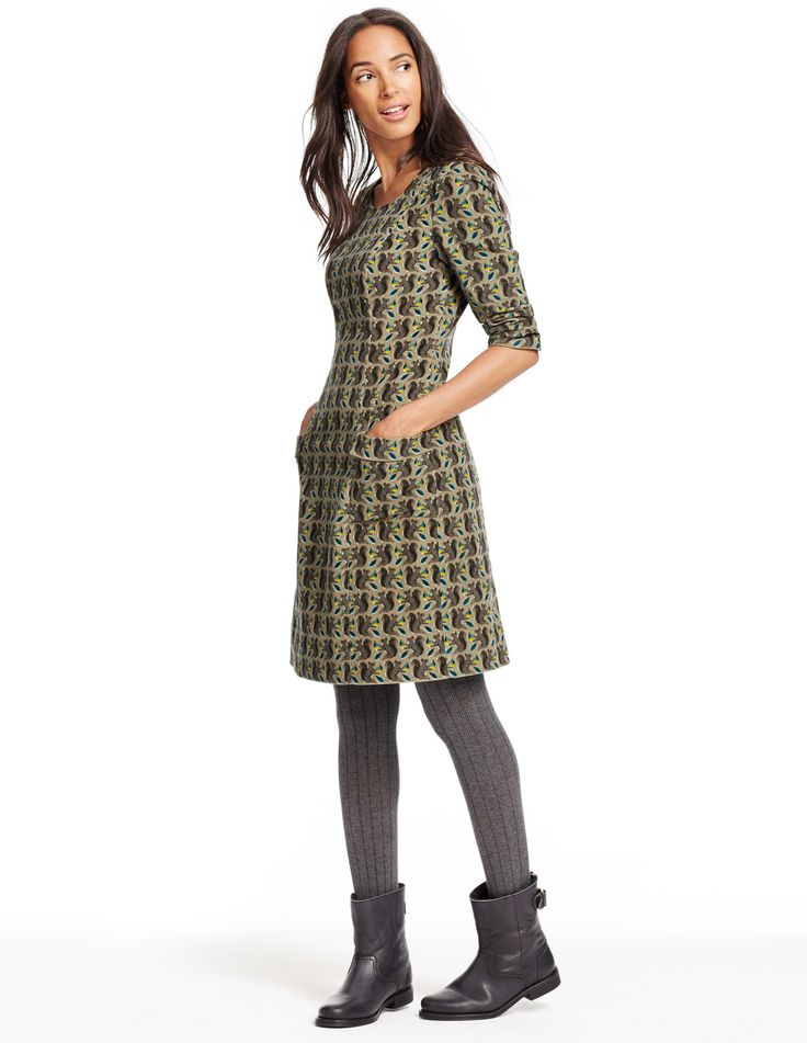 Hartland Dress WH715 Day Dresses at Boden. Olive color. May be bugging Jason for THIS for Christmas instead. add tights & boots, you're gold. and covered in squirrels.
