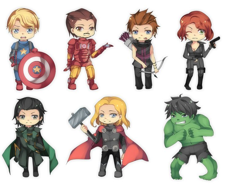 how to draw chibi avenger characters