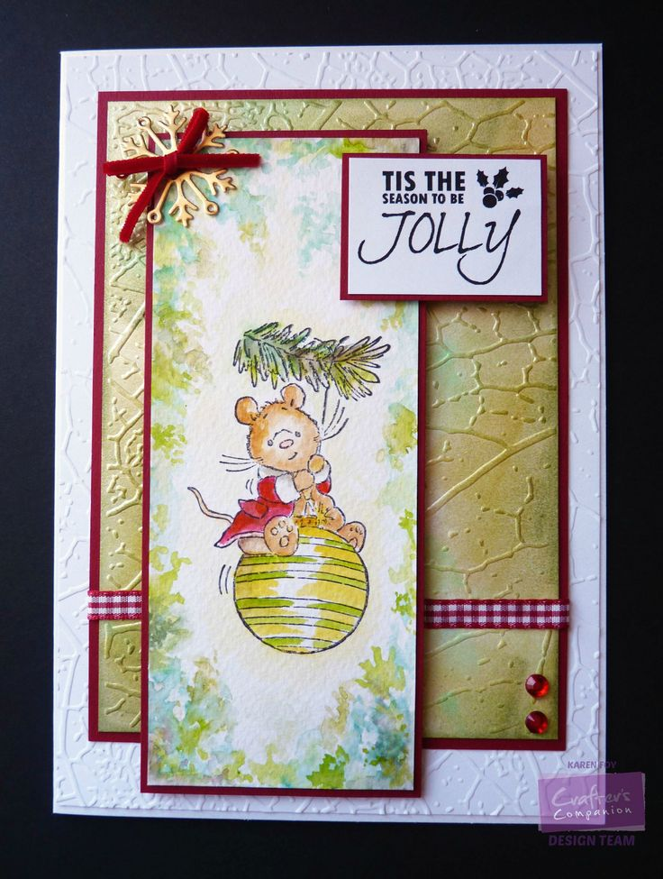 Leaf Vein Folder Centura Pearl Card Green Distress Inks Makey Bakey Mouse stamp Aquamarkers and Watercolour card Diesire Snowflake die, Ribbon, Gems