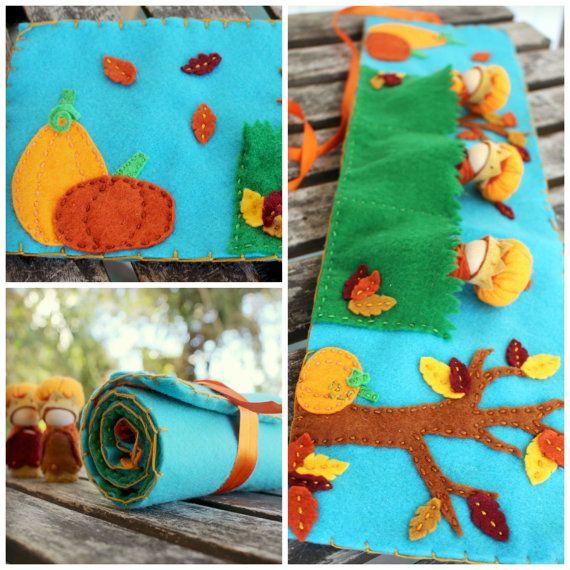 Autumn Felt Play Mat Leaves & Pumpkins por HereComesBrotherSun