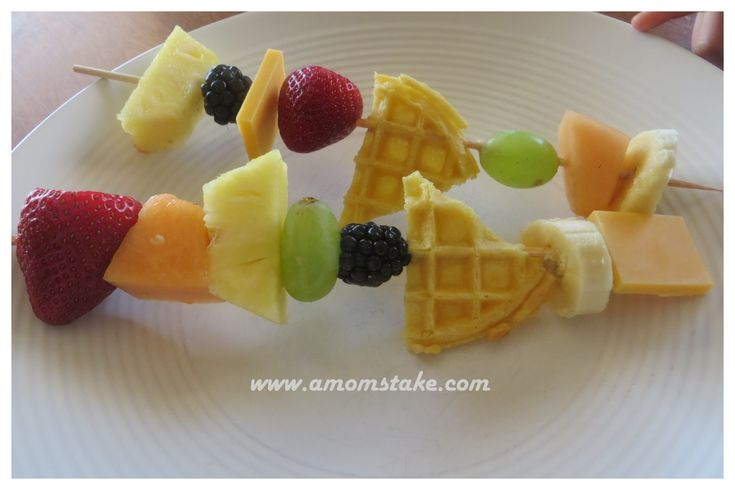 Waffle & Fruit Kebabs! Sometimes eating fruits is as simple as just making them look cool