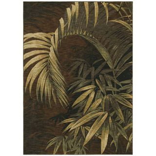 Tommy Bahama Home Rugs Dark Brown Polynesian Palms Transitional Rug (1'10 x 2'9)