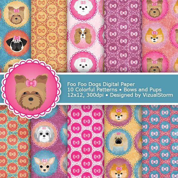 Toy Dogs Digital Paper. Cute Foo foo pups and pink bows for graphic design, scrapbooking and craft projects. #scrapbookingpaper #petpaper #petdesigns #digitalpaper #toydogpaper #foofoodogs #colorfulpaper #graphicdesign #dogpatterns