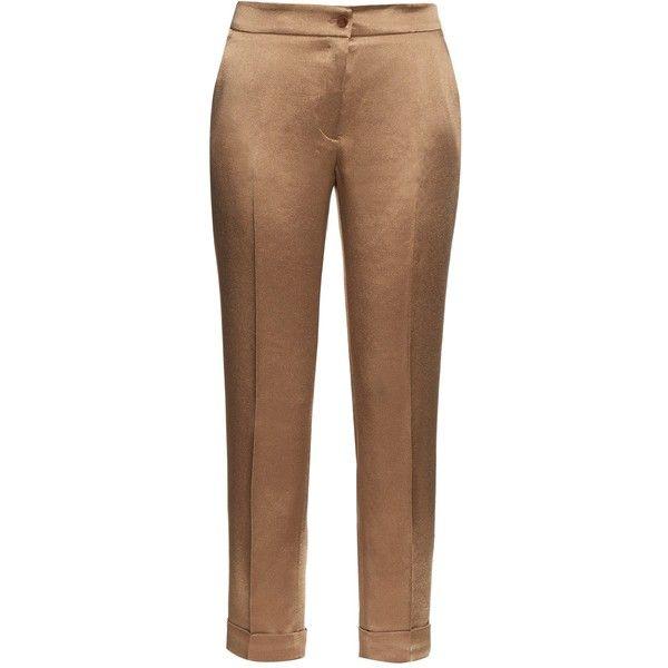 Etro High-rise cigarette-leg satin trousers ($470) ❤ liked on Polyvore featuring pants, capris, etro, beige, high waisted cigarette trousers, satin pants, cigarette trousers, cuff pants and high waisted cigarette pants