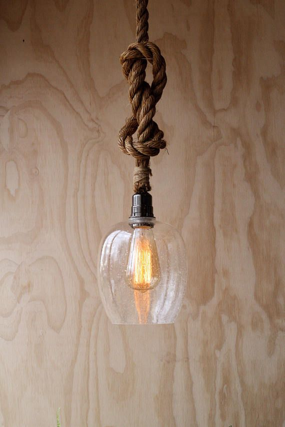 bd055d43c24 Plywood Walls - Modern Home - Glass Pendant Lighting - Rustic Industrial  light - Rope ceiling fixture