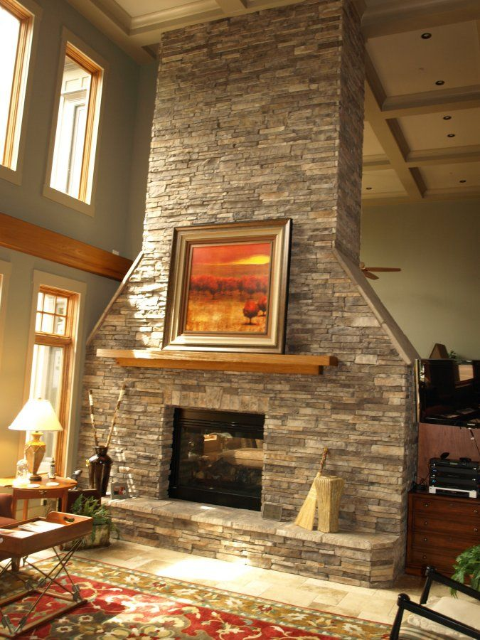 Fireplace with stone masonry work