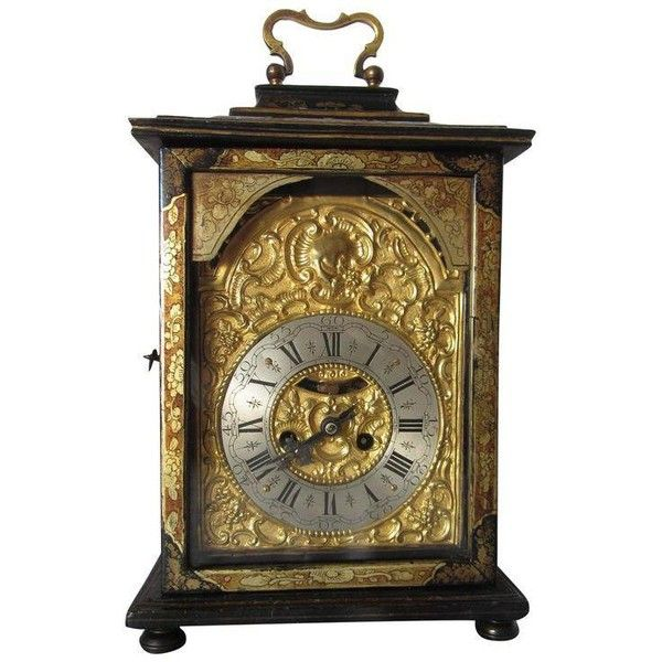 Antique Continental Japanned Table Clock ($2,250) ❤ liked on Polyvore featuring home, home decor, clocks, antique pendulum clocks, antique clock, word clock, roman numeral clock and black mantel clock
