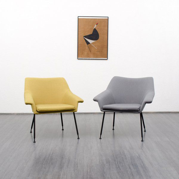 armchairs / easy chairs Filigree 50s lounge-armchair, new upholstery, two colours, dispo 2 (no. 5827) Karlsruhe Velvet-Point