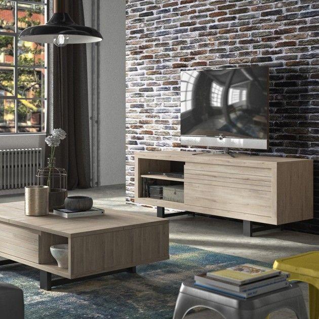 Meuble Tv Couleur Chene 1 Tiroir Fabrication Francaise En 2020 Meuble Tv Style Industriel Meuble Tv Decoration Exterieur