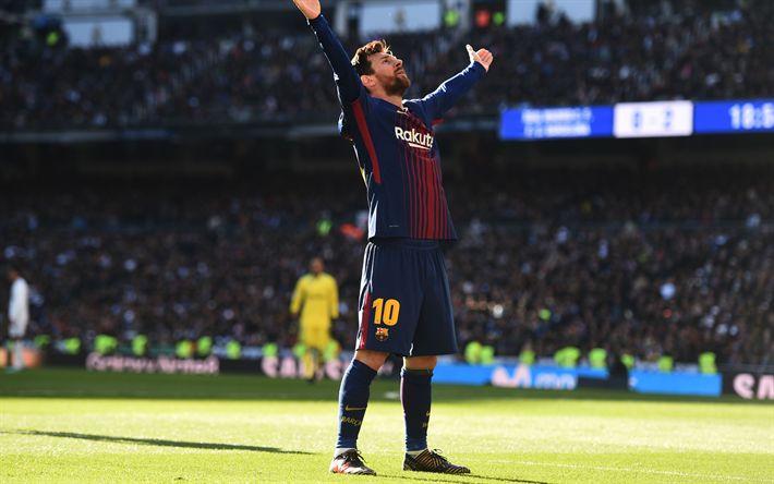 Download wallpapers Lionel Messi, 4k, goal, Barcelona, La Liga, Spain, Barca, Messi, football stadium, Leo Messi