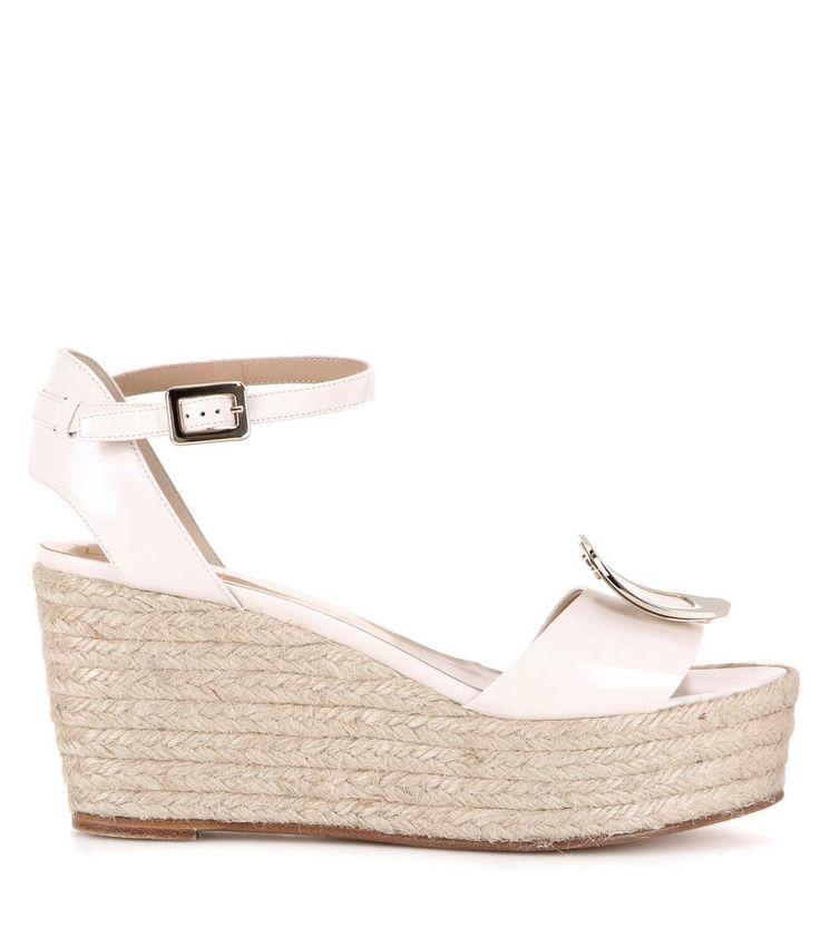 Sandales compensées style espadrille en cuir couleur nude