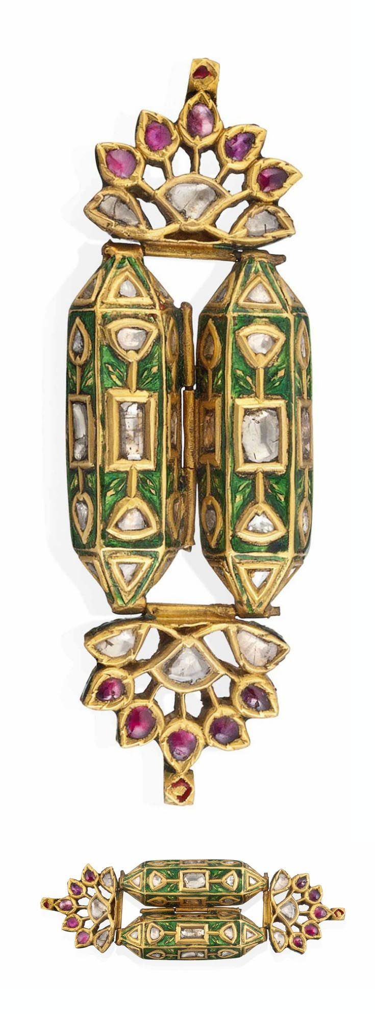 North India - Deccan   Bazuband; gold, enamelled and set with diamonds and foiled red gems. Reverse enamelled. Each of the containers opening to reveal a small compartment.  L: 7.4 cm   19th century   2'750£ ~ sold (Oct '12)