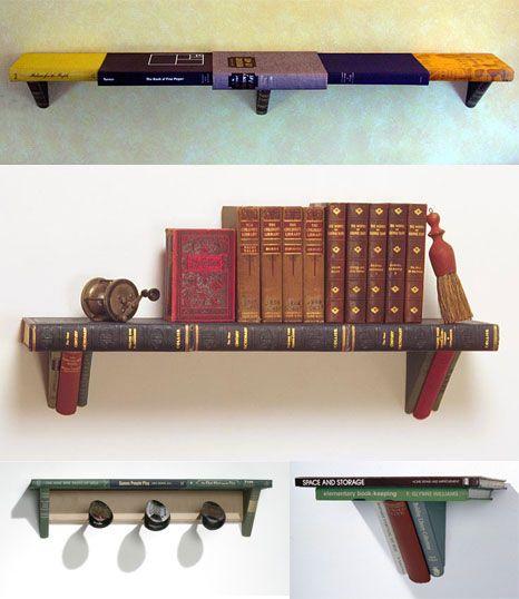 Books used as bookshelf