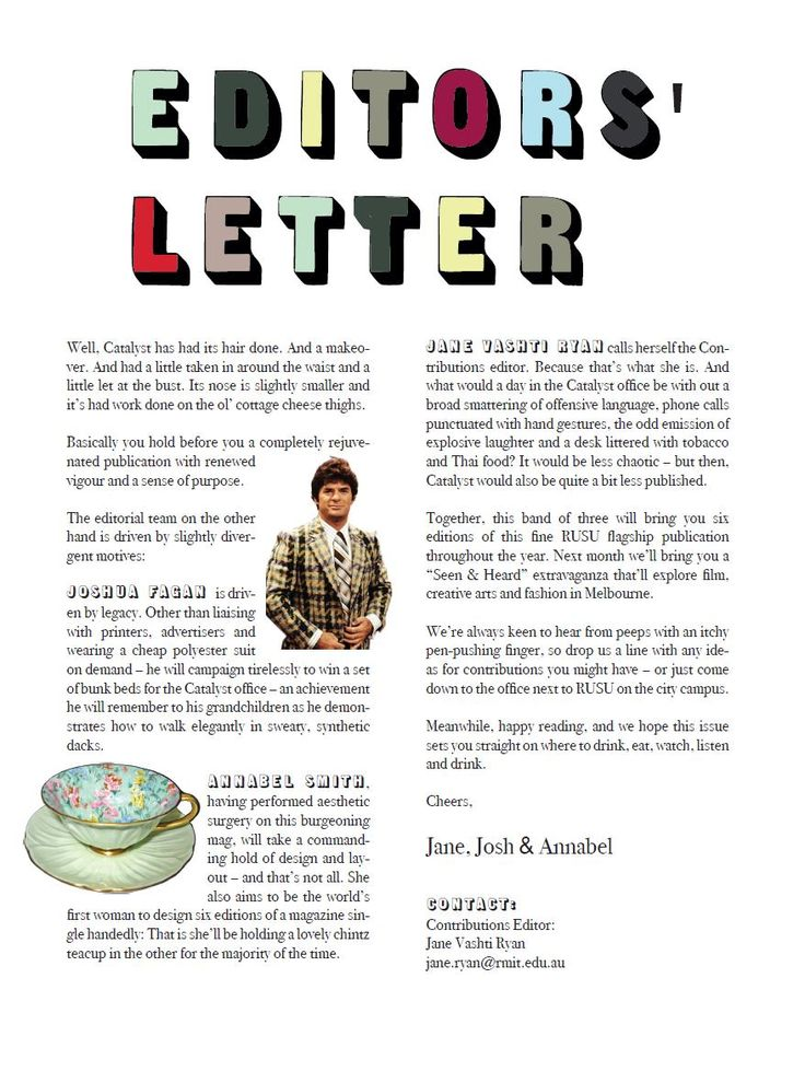 40 best Table of Contents\/ Editors Letter images on Pinterest - magazine editor job description
