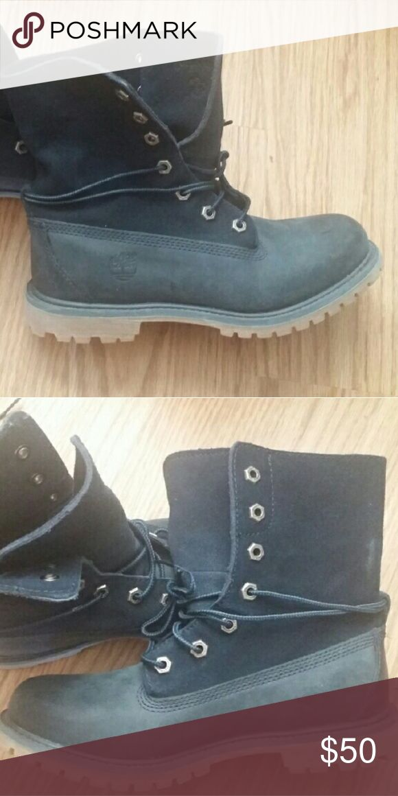 Timberland Roll Top Boots Navy Blue Suede Shoes Lace Up Boots