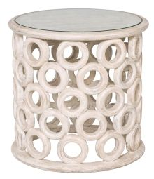 Texas Wooden Ring Accent Size Table- Limewash