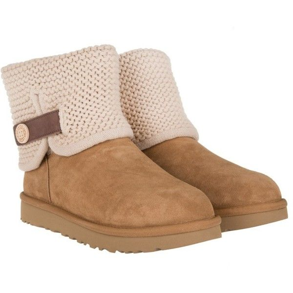 UGG Boots & Booties - W Shaina Chestnut - in cognac - Boots & Booties... ($210) ❤ liked on Polyvore featuring shoes, boots, ankle booties, ankle boots, brown, flat ankle booties, brown flat boots, cognac ankle boots and cuffed ankle boots