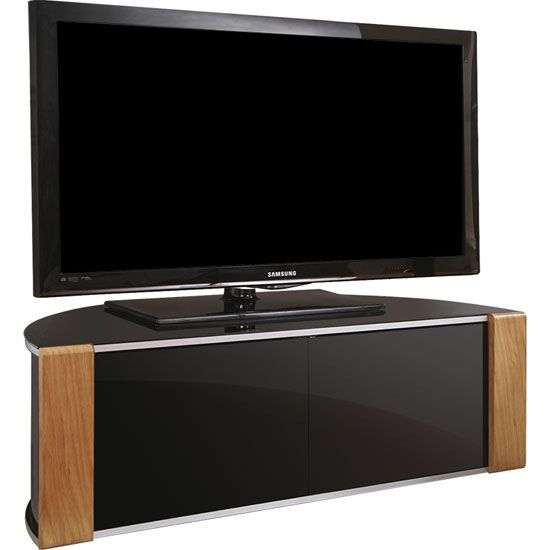 Sinter LCD TV Stand In High Gloss Piano Black With 2 Door And  Interchangeable Oak And