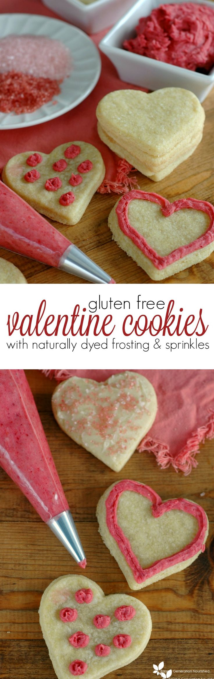 Gluten Free Valentine's Day Sugar Cookies With Naturally Dyed Frosting