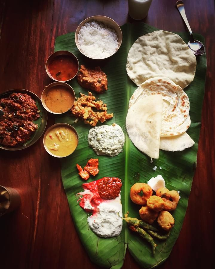 South Indian Food On A Wooden Background South Indian Food Served