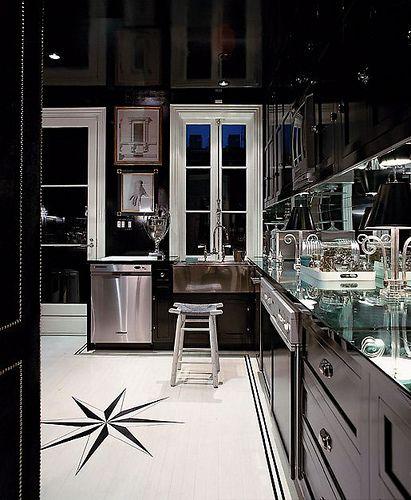 miles' kitchen.  Slick: Idea, Dreams Kitchens, Kitchens Design, Floors, Black And White, Black Kitchens Cabinets, Black Cabinets, Interiors Design, White Kitchens