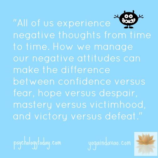 """Yoga in Davao Quote: """"... How we manage our negative attitudes..."""""""