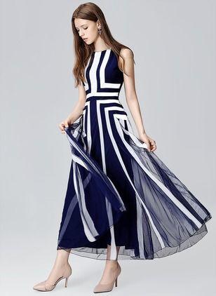Polyester Geometric Sleeveless Maxi Elegant Dresses (1017688) @ floryday.com