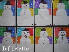 sneeuwpop met 4 kleurenachtergrond