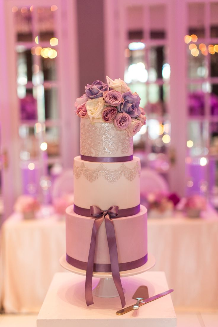 Purple Silver Flower Wedding Cake by Pippa and Polly Cakery